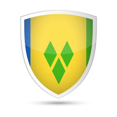 Saint Vincent and the Grenadines Flag Vector Shield Icon