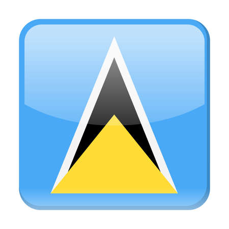 Saint Lucia Flag Vector Square Icon - Illustration