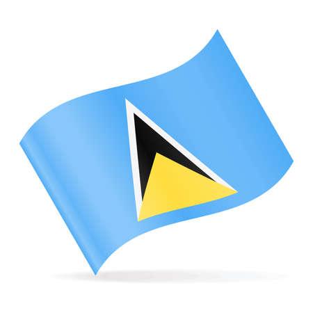 Saint Lucia Flag Vector Waving Icon - Illustration