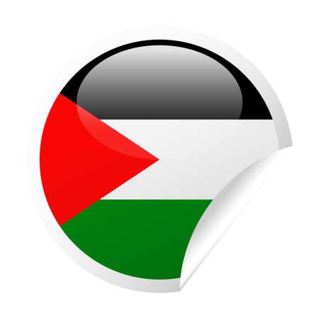 Palestine Flag  Round Corner Paper Icon  Illustration Çizim