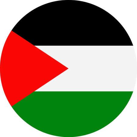 Palestine Flag Round Flat Icon Illustration