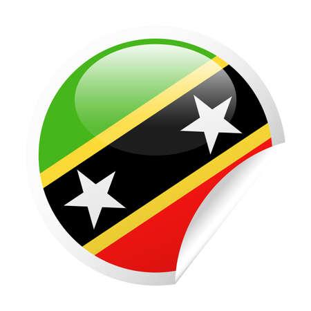 St. Kitts and Nevis Flag Vector Round Corner Paper Icon - Illustration