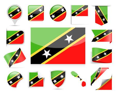 St. Kitts and Nevis Flag Set - Vector Illustration