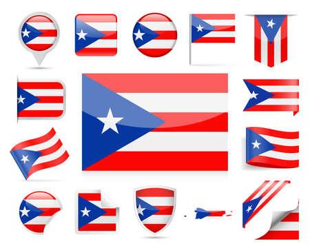 Puerto Rico Flag Set  Illustration Ilustrace