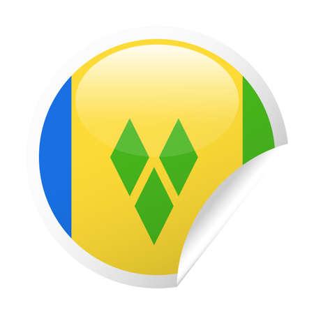 Saint Vincent and the Grenadines Flag Vector Round Corner Paper Icon - Illustration