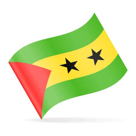 Sao Tome and Principe Flag Vector Waving Icon - Illustration