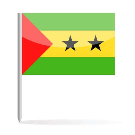 Sao Tome and Principe Flag Pin Vector Icon - Illustration Ilustração