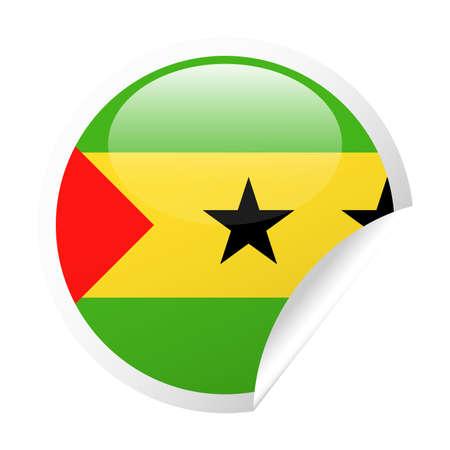 Sao Tome and Principe Flag Vector Round Corner Paper Icon - Illustration