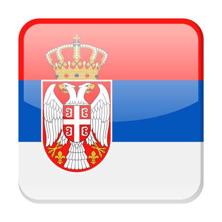 Serbia Flag Vector Square Icon Illustration Ilustração