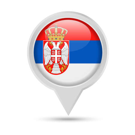 Serbia Flag Round Pin Vector Icon - Illustration Illustration