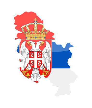 Serbia Flag Country Contour Vector Icon - Illustration Illustration