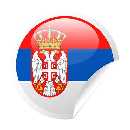 Serbia Flag Vector Round Corner Paper Icon - Illustration
