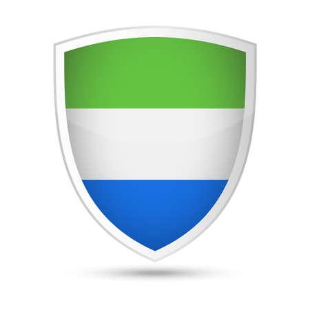 Sierra Leone Flag Vector Shield Icon Illustration