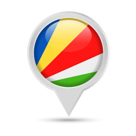 Seychelles Flag Round Pin Vector Icon - Illustration 일러스트