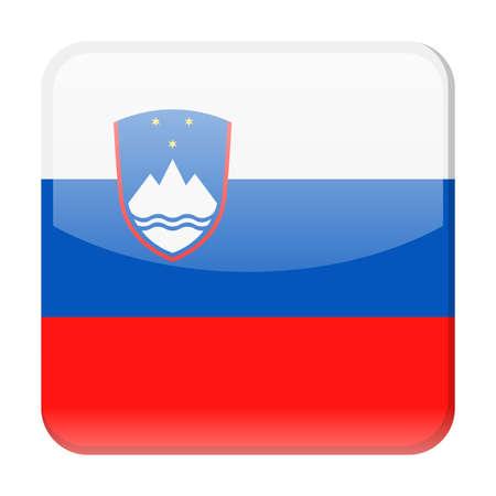 Slovenia Flag Vector Square Icon - Illustration