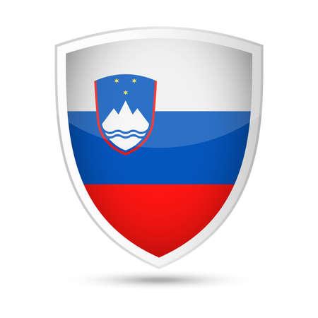 Slovenia Flag Vector Shield Icon Illustration 일러스트