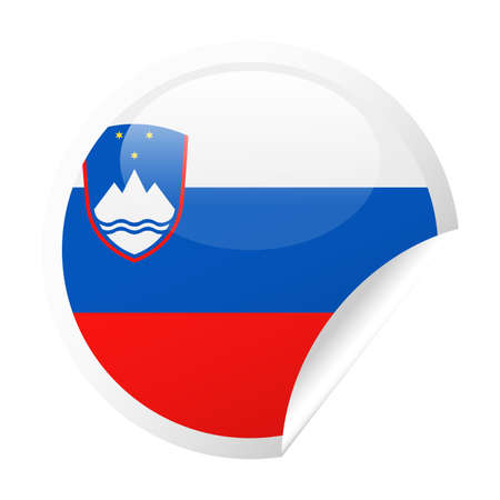 Slovenia Flag Vector Round Corner Paper Icon - Illustration
