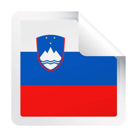 Slovenia Flag Vector Square Corner Paper Icon - Illustration
