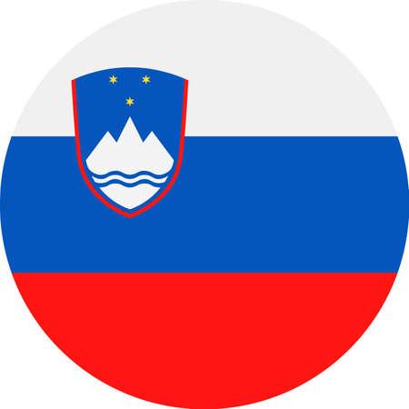 Slovenia Flag Vector Round Flat Icon - Illustration