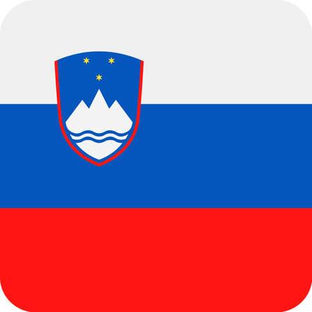 Slovenia Flag Vector Square Flat Icon - Illustration