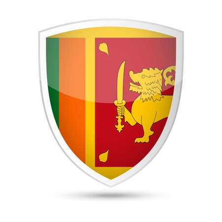 Sri Lanka Flag Vector Shield Icon Illustration