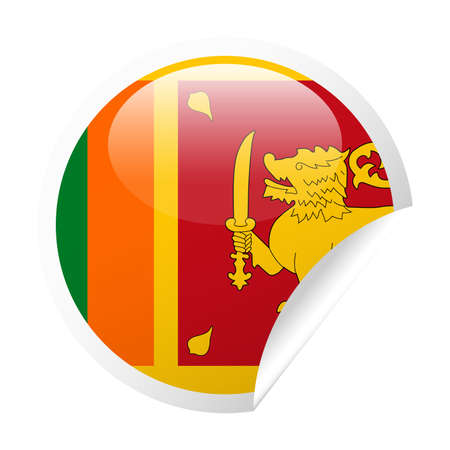 Sri Lanka Flag Vector Round Corner Paper Icon - Illustration