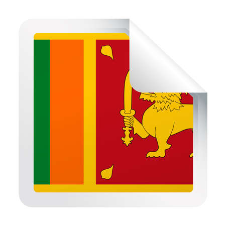 Sri Lanka Flag Vector Square Corner Paper Icon - Illustration