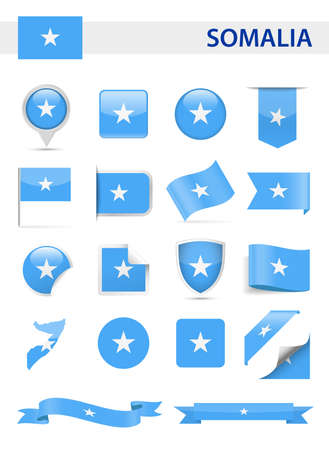 Somalia Flag Set - Vector Illustration Illustration