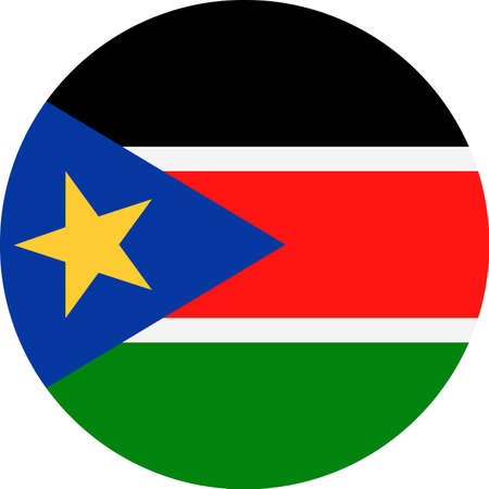 South Sudan Flag Vector Round Flat Icon - Illustration