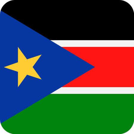 South Sudan Flag Vector Square Flat Icon - Illustration