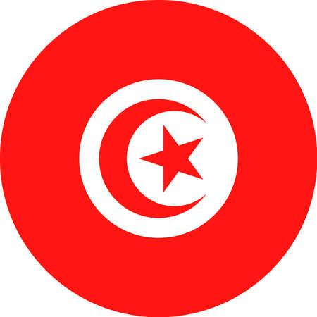 Tunisia Flag Vector Round Flat Icon Illustration  イラスト・ベクター素材