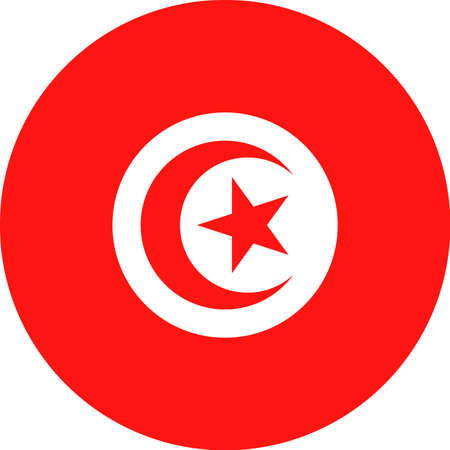 Tunisia Flag Vector Round Flat Icon Illustration