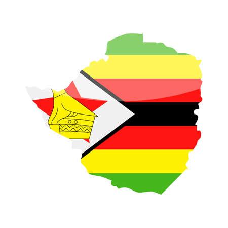 Zimbabwe Flag Country Contour Vector Icon - Illustration