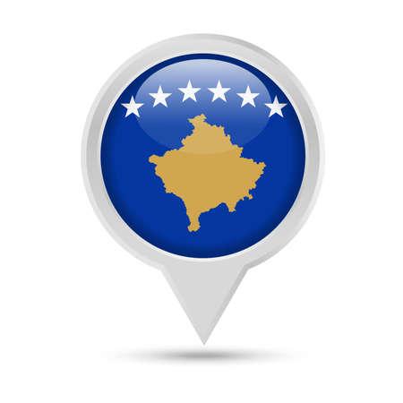 Kosovo Flag Round Pin Vector Icon - Illustration