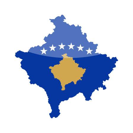 Kosovo Flag Country Contour Vector Icon - Illustration Illustration