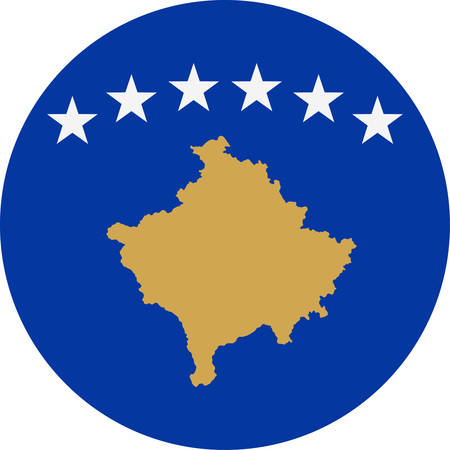 Kosovo Flag Vector Round Flat Icon - Illustration