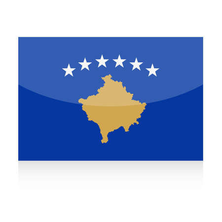Kosovo Flag Vector Icon Illustration on white background.
