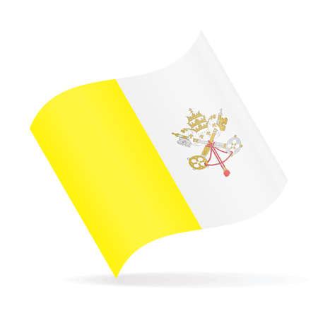 Vatican Flag Vector Waving Icon Illustration on white background. Illustration
