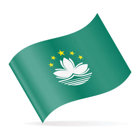 Macau Flag Vector Waving Icon  Illustration