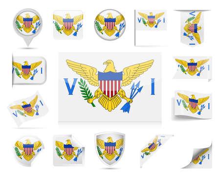 U. S. Virgin Islands Flag Set  Vector Illustration