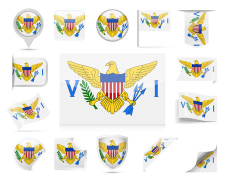 U. S. Virgin Islands Flag Set  Vector Illustration