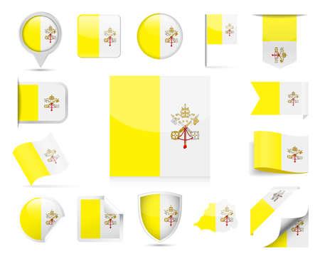 Vatican Flag Set - Vector Illustration Çizim