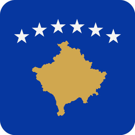 Kosovo Flag Vector Square Flat Icon - Illustration