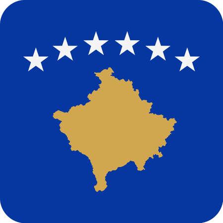 Kosovo Flag Vector Square Flat Icon - Illustration