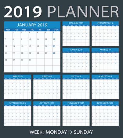 2019 calendar planner - Monday to Sunday Illustration