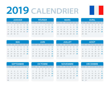 Calendar 2019 - French version - vector illustration Stock Vector - 114736381