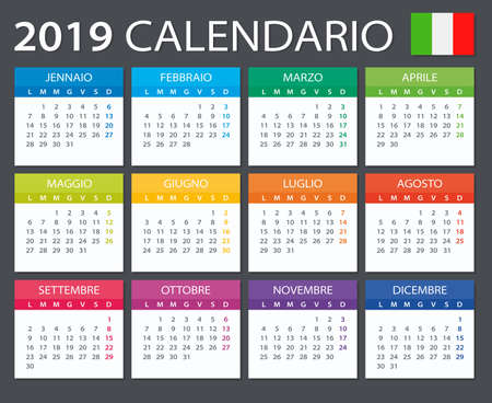 Calendar 2019 - Italian version - vector illustration