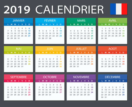 Calendar 2019 - French version - vector illustration 일러스트