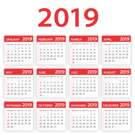 2019 year Calendar Leaves Set - Illustration. All monthes