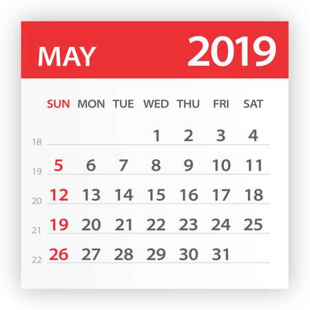 Feuille de calendrier mai 2019 - Illustration. Page graphique vectorielle